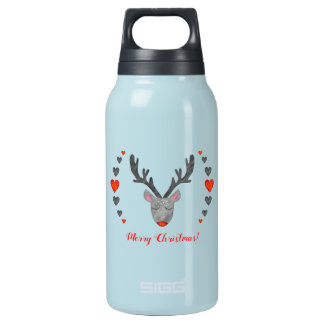 Reindeer! Custom Hot & Cold (0.3L), Teal Insulated Water Bottle