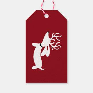 Reindeer Dachshund Christmas Gift Tag Wiener Dog