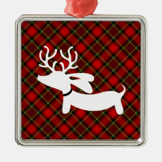 Reindeer Dachshund on red plaid Christmas Ornament