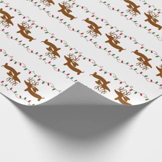 Reindeer Dachshund on White Gift Wrapping Paper