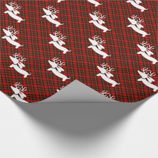 Reindeer Dachshund Plaid Christmas Wrapping Paper