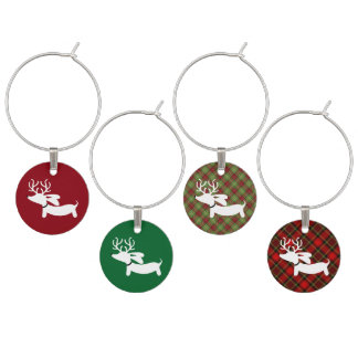 Reindeer Dachshunds on Stripes Wine Charms