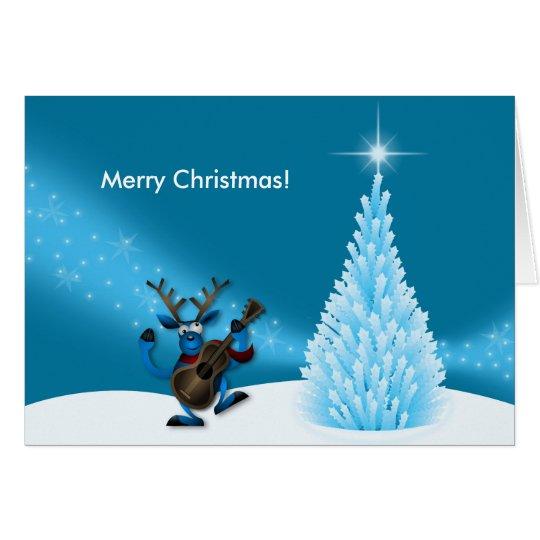 Reindeer Dancing Guitar Merry Christmas Tree Blue Card
