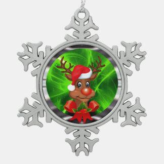 Reindeer decoration pewter snowflake decoration