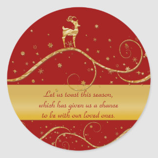 Reindeer elegant gold Christmas greeting Classic Round Sticker