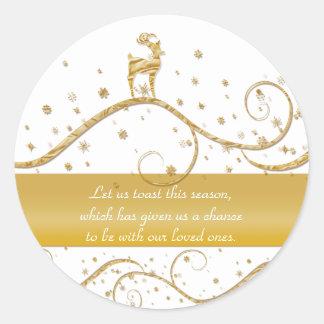 Reindeer elegant gold festive greeting classic round sticker