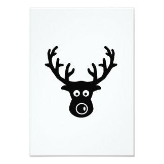 "Reindeer face antlers 3.5"" x 5"" invitation card"