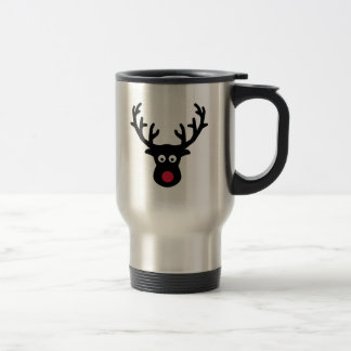 Reindeer face red nose travel mug