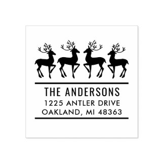 Reindeer Family | Holiday Address Rubber Stamp