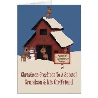 Reindeer Farm Grandson & Girlfriend Christmas Card