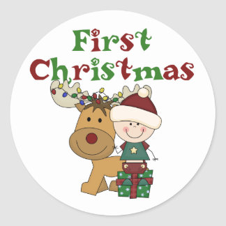 Reindeer First Christmas T-shirts and Gifts Classic Round Sticker
