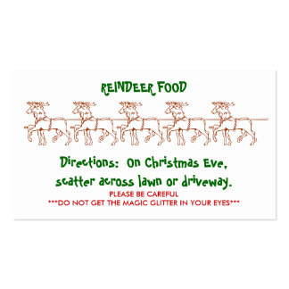 REINDEER FOOD - Customized 2 Pack Of Standard Business Cards