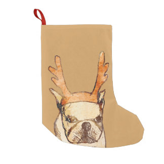 Reindeer Frenchie Small Christmas Stocking