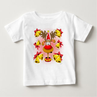 Reindeer Fun Christmas Cartoon with Bells Alarms Baby T-Shirt