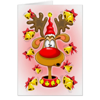 Reindeer Fun Christmas Cartoon with Bells Alarms Card