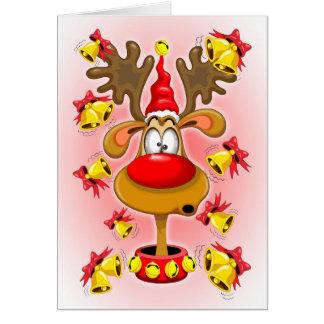 Reindeer Fun Christmas Cartoon with Bells Alarms Greeting Card