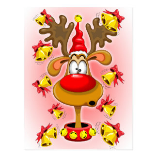 Reindeer Fun Christmas Cartoon with Bells Alarms Postcard