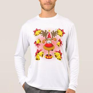 Reindeer Fun Christmas Cartoon with Bells Alarms T-Shirt