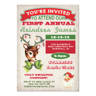 Reindeer Games Christmas Party Invitation