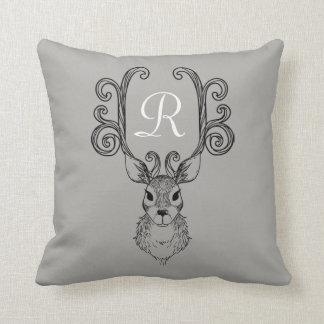Reindeer Gray Antlers Christmas Monogram Pillow
