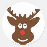 reindeer head antler round stickers