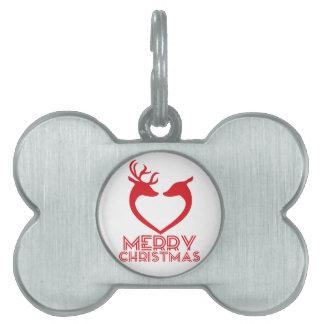 Reindeer Heart Pet ID Tag