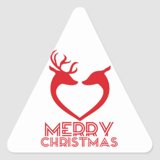 Reindeer Heart Triangle Sticker