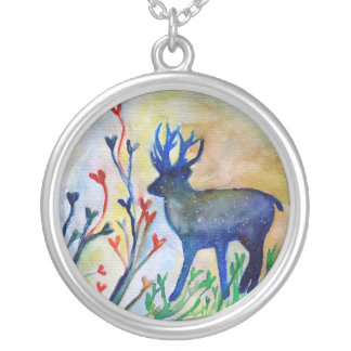Reindeer Hearts Watercolor Plated Round Necklace