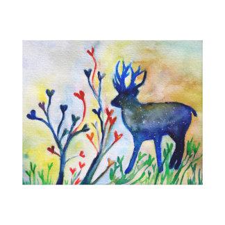 Reindeer Hearts Watercolor Romantic Art  Single Canvas Print