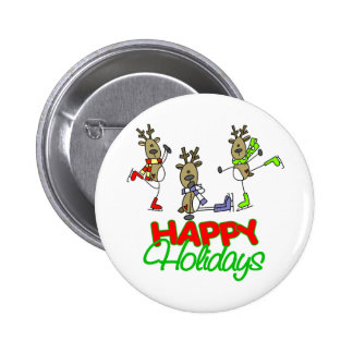 Reindeer Holiday Gift Pinback Buttons