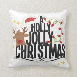 Reindeer Holly Jolly Christmas Pillow Throw Cushion