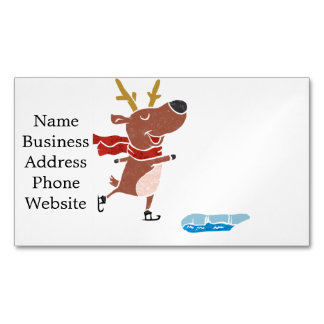 Reindeer ice skate magnetic business cards