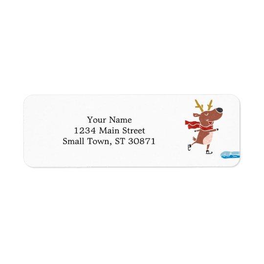 Reindeer ice skate return address label