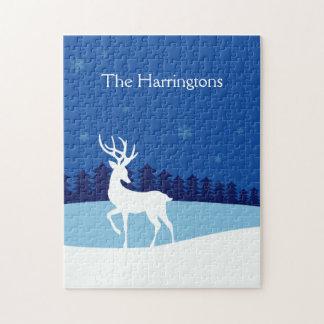 Reindeer illustration custom name puzzle