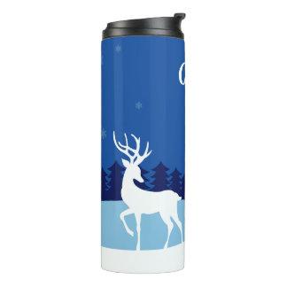 Reindeer illustration custom name tumbler