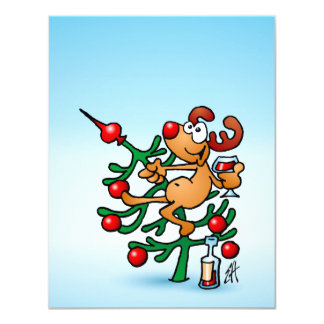 Reindeer in a Christmas tree 11 Cm X 14 Cm Invitation Card