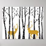 Reindeer in birch tree forest poster