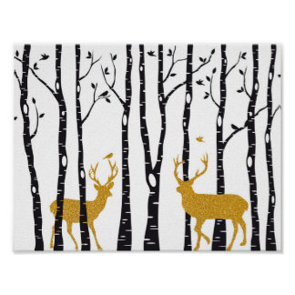 Reindeer in birch tree forest poster