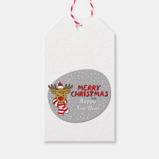 Reindeer in Santa Claus hat with wishes Gift Tags