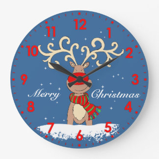 Reindeer in the snow graphic Christmas wall clock