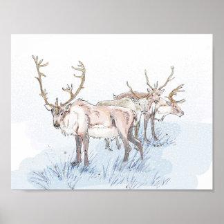 Reindeer in the Snow Print