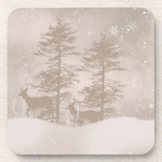Reindeer In The Woodland Snow Scenery Coaster