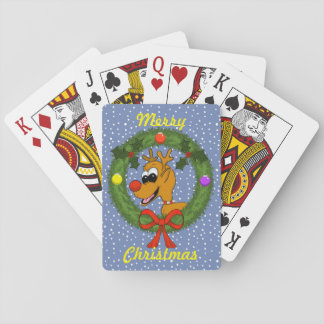 Reindeer in Wreath Christmas Playing Cards