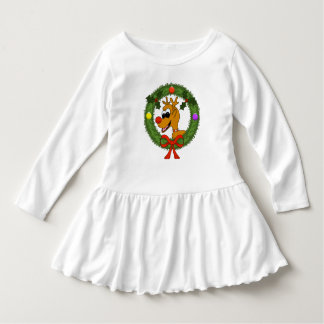 Reindeer in Wreath Toddler Ruffle Dress