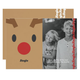 "Reindeer ""Jingle"" Illustration Holiday Photo Card"