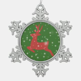 Reindeer Jumping Snow Pewter Snowflake Decoration