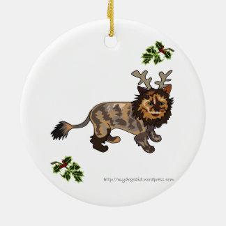 Reindeer Kitty cartoon cat ornament