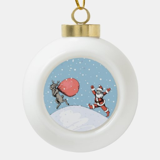 Reindeer makes jokes with Santa Claus. Ornaments