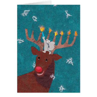 Reindeer Menorah for Christmas and Hannukah Card