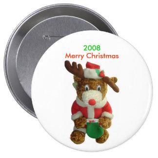 """Reindeer Merry Christmas Button 4"""" Round 4 Inch Round Button"""